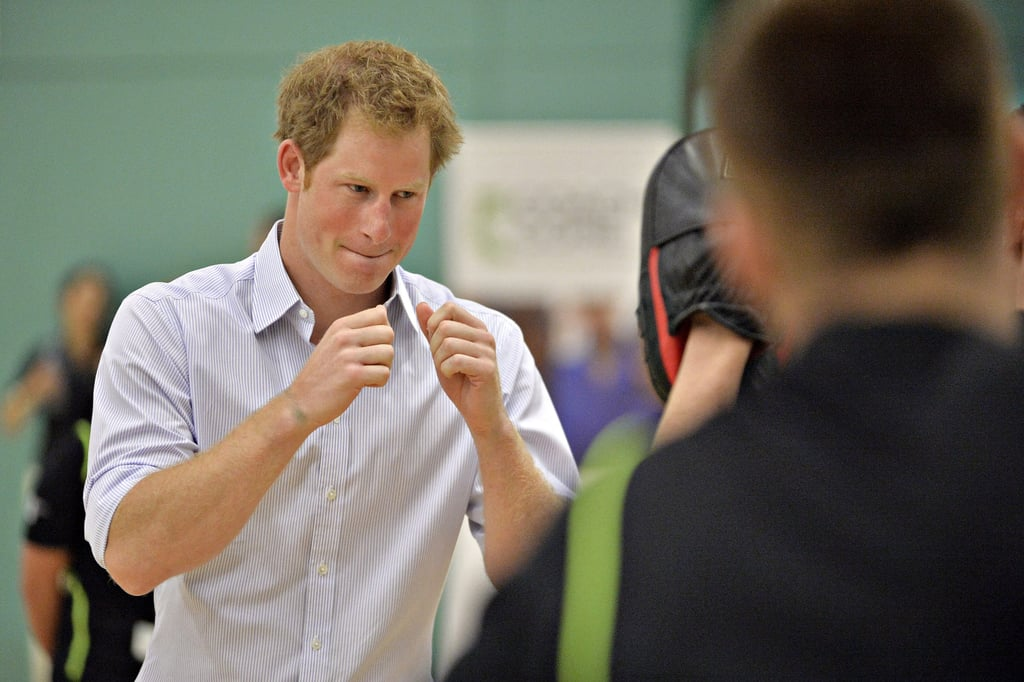Harry did a bit of sparring at the Commonwealth Games.