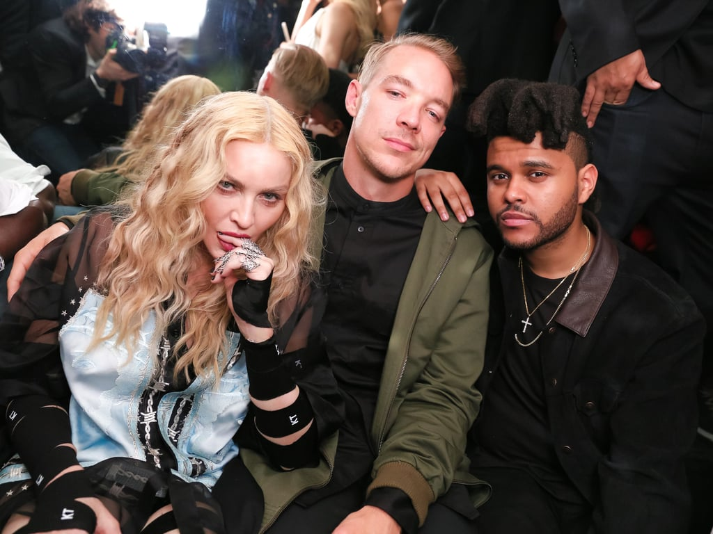 Pictured: Madonna, Diplo, and The Weeknd
