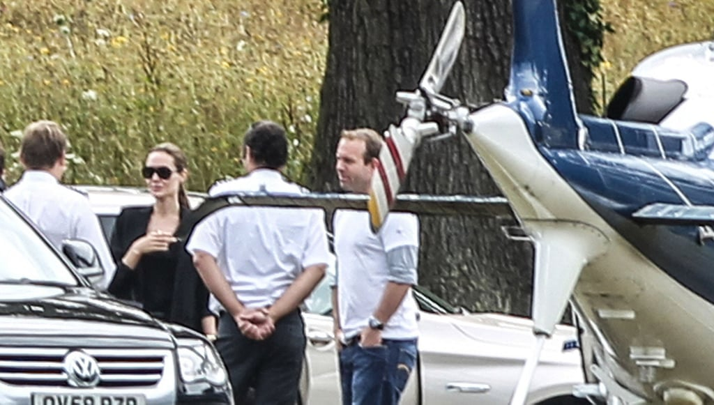 Angelina Jolie took a chopper out of London.