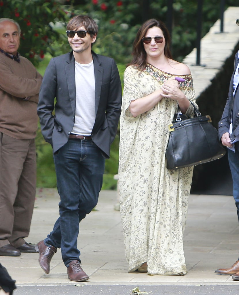 Ken Pavés flashed a smile outside of the Hotel Bel-Air, where he attended Jessica Simpson's baby shower.