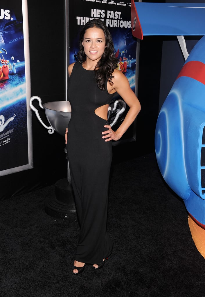 Michelle Rodriguez wore all black to the Turbo premiere on Tuesday in NYC.