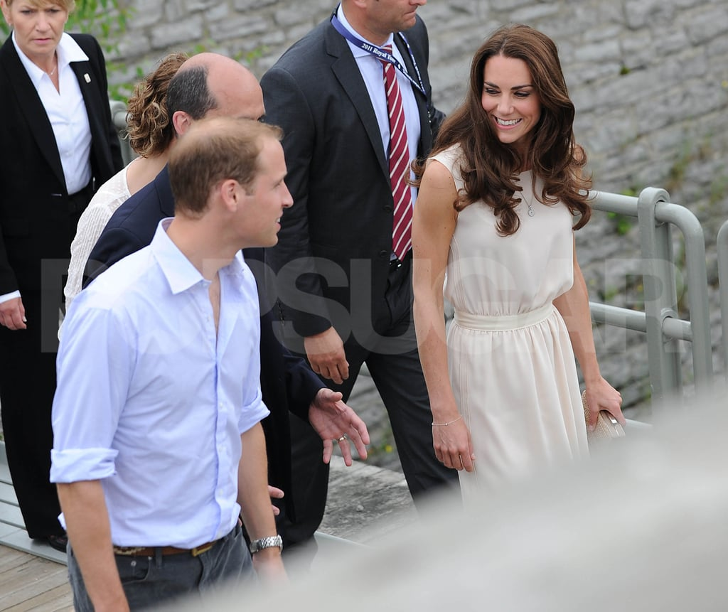 Kate Middleton wore white with Prince William in Canada.