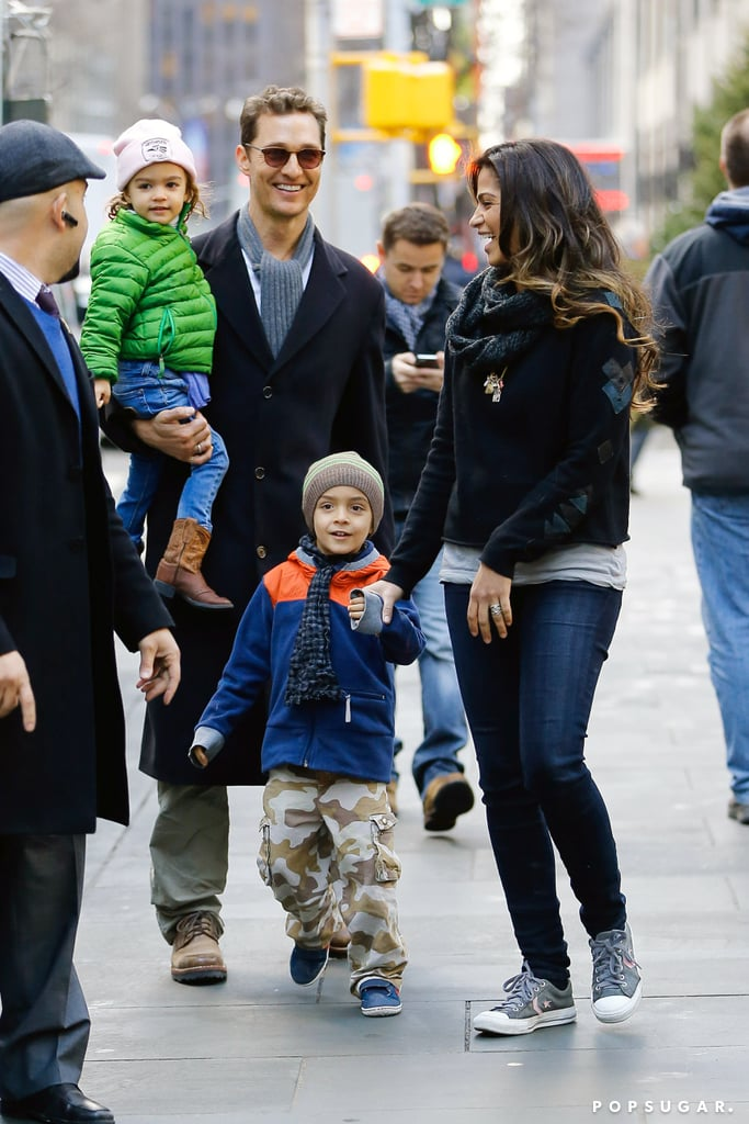 Matthew McConaughey and Camila Alves laughed together with their kids Levi and Vida in NYC on Wednesday.
