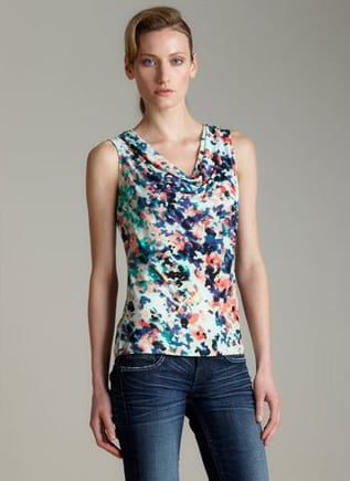 Tuck this floral tank into high-waisted shorts or a solid skirt for a bright, feminine look.  Calvin Klein Mar-Msy Printed Cowl Neck ($30)