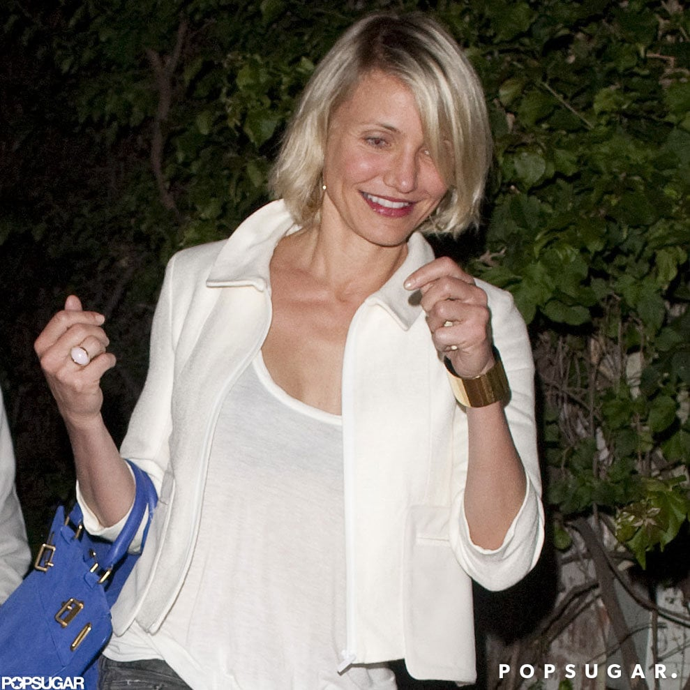 Cameron Diaz wore a see-through shirt to dinner with Gwyneth Paltrow and Chris Martin.