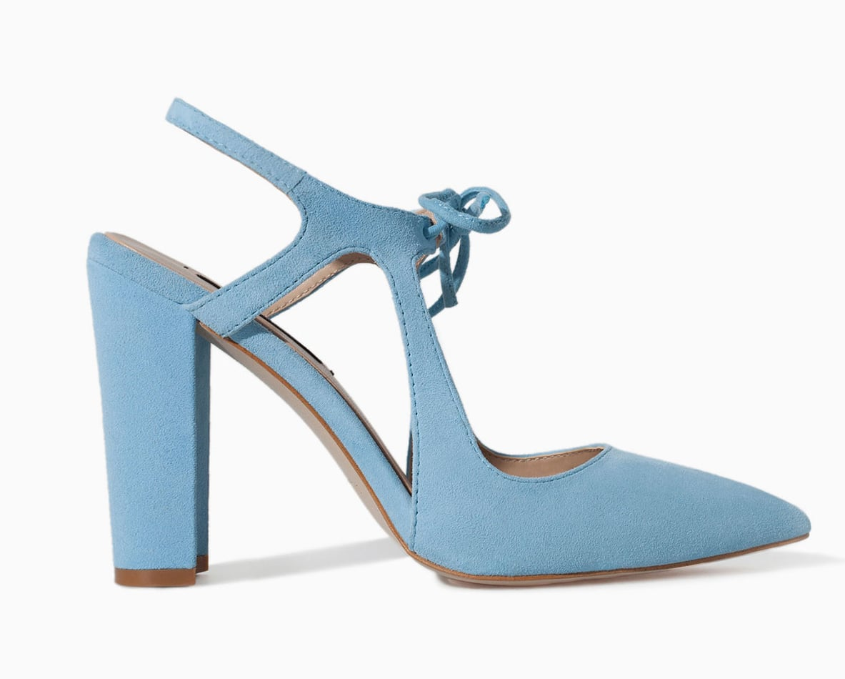 Zara light blue heel with bow ($100)