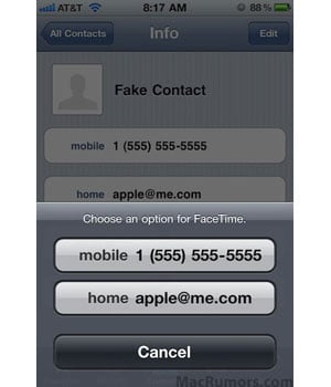 FaceTime Through Email on iPod Touch