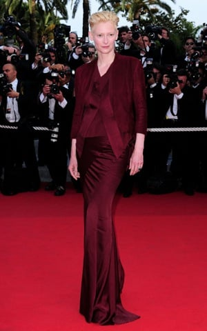 Actress Tilda Swinton in Silky Wine Colored Haider Ackermann Outfit at the Up Premiere at the 2009 Cannes Film Festival