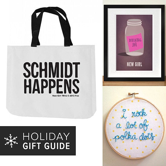 """A """"Schmidt Happens"""" tote bag, Jessica Day-inspired embroidery, and a full-season DVD — indulge the New Girl fan on your holiday shopping list with these creative gift ideas."""