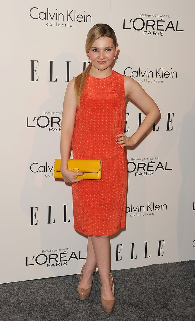 Abigail Breslin wore bright colors at an event for Elle.