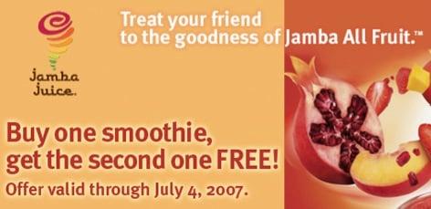 Buy One Jamba Juice Smoothie, Get One Free!