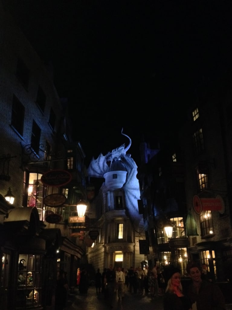 Here's a night shot of Diagon Alley when we first entered the new park.