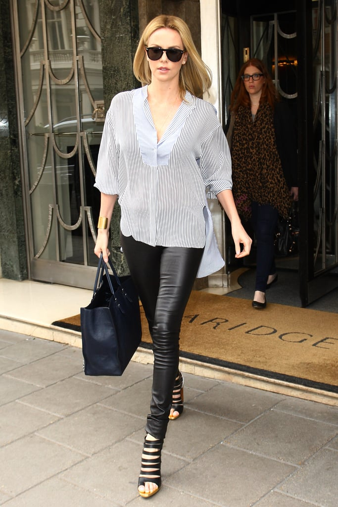 Off-duty style in London called for an edgy ensemble — a Stella McCartney top, The Row's leather leggings, and strappy Christian Louboutin cutout booties.