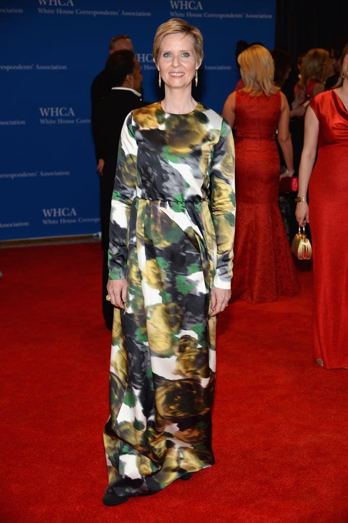 Cynthia Nixon wore a patterned dress by Tia Cibani.