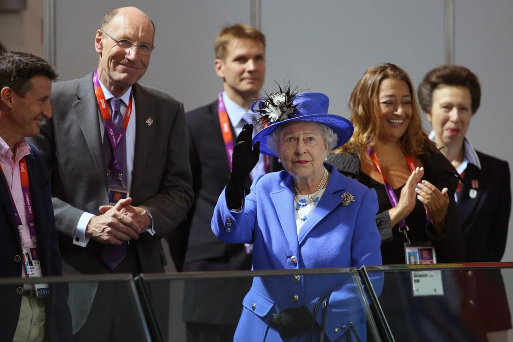 The queen and Lord Sebastian Coe, Chairman of the London Organising Committee of the Olympic Games visited the Aquatics Centre on day one.
