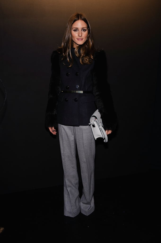 Olivia Palermo looked majorly plush in a Monika Chiang shearling-sleeved coat and wide-leg trousers, also by Monika Chiang, at the Lincoln Center.