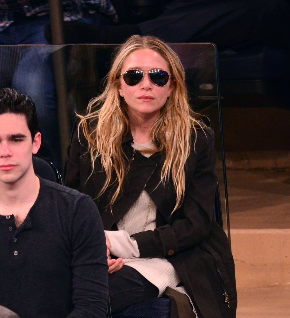 Mary-Kate Olsen also wore aviator sunglasses with a black coat while cheering on the New York Knicks in May.