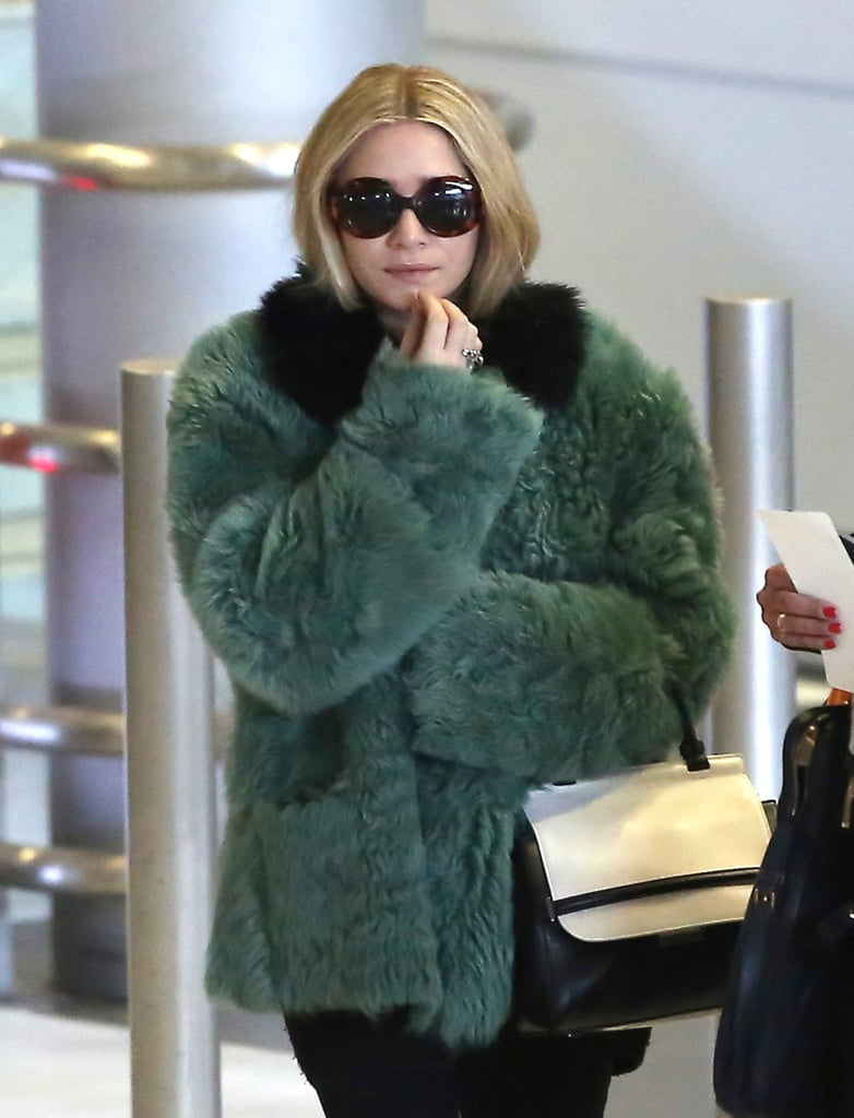 Ashley Olsen kept warm in a coat as she headed into the city.