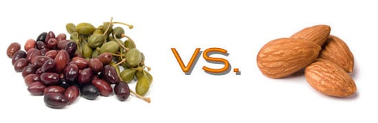 Comparing Nutritional Value of Snacks: Almonds and Olives