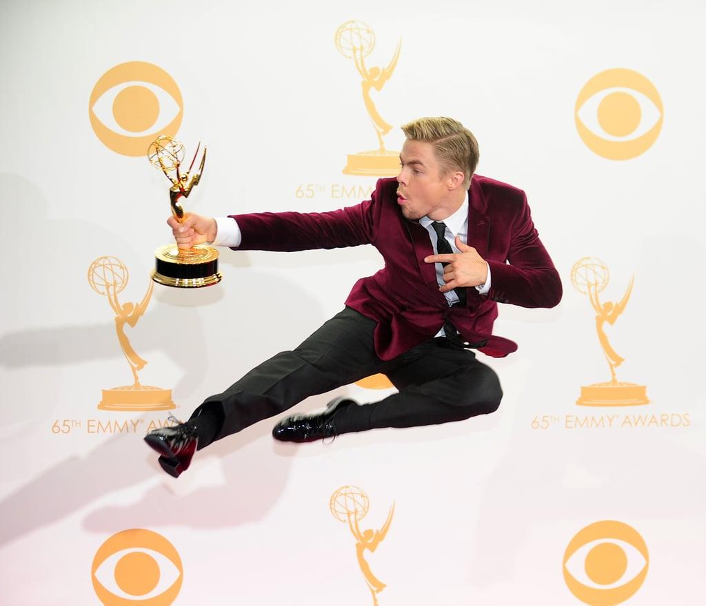 Derek Hough leaped for joy after winning his Emmy.