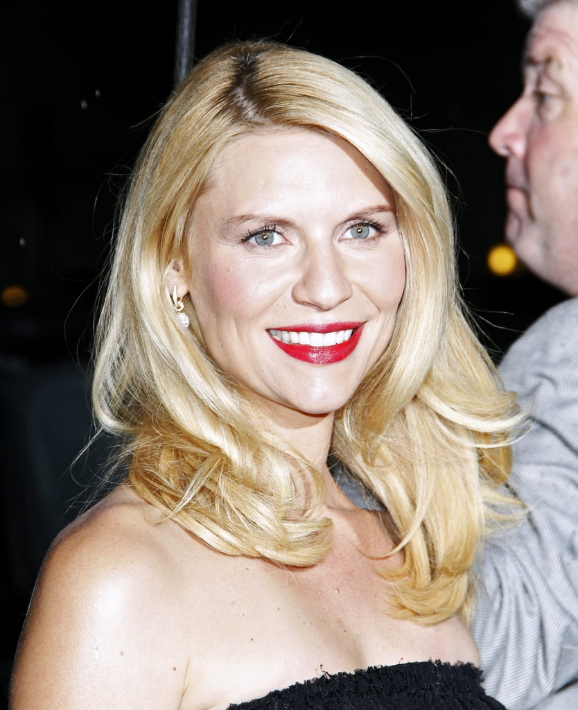 Claire Danes wore bright lipstick for Late Show With David Letterman.