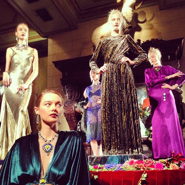 The jewel-toned dresses matched the beautiful baubles at Dannijo.