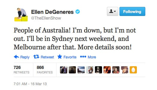 Elle DeGeneres reassured her fans that the show will go on! She had to postpone her trip to Australia by one week after falling ill.