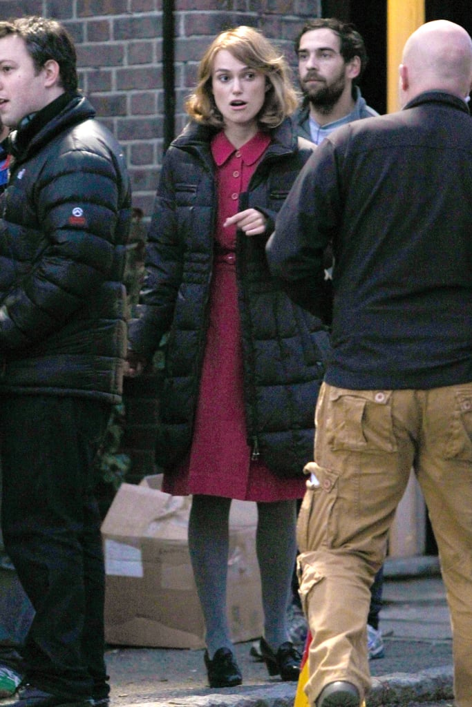 Keira Knightley hit the set in Hertfordshire.