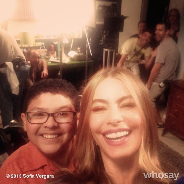 Sofia Vergara snapped a photo of herself with Rico Rodriguez on their first day back at the Modern Family set. Source: Sofia Vergara on WhoSay