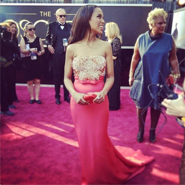 Kerry Washington was thinking coral in Miu Miu. Source: Instagram user theacademy