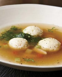Matzo Ball Soup with Dill-Horseradish Pistou Recipe