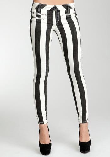 Striped Multi Zip Skinny Jean