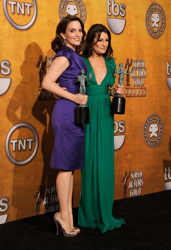 Lea was joined by Tina Fey in the press room during the January 2010 SAG Awards in LA.