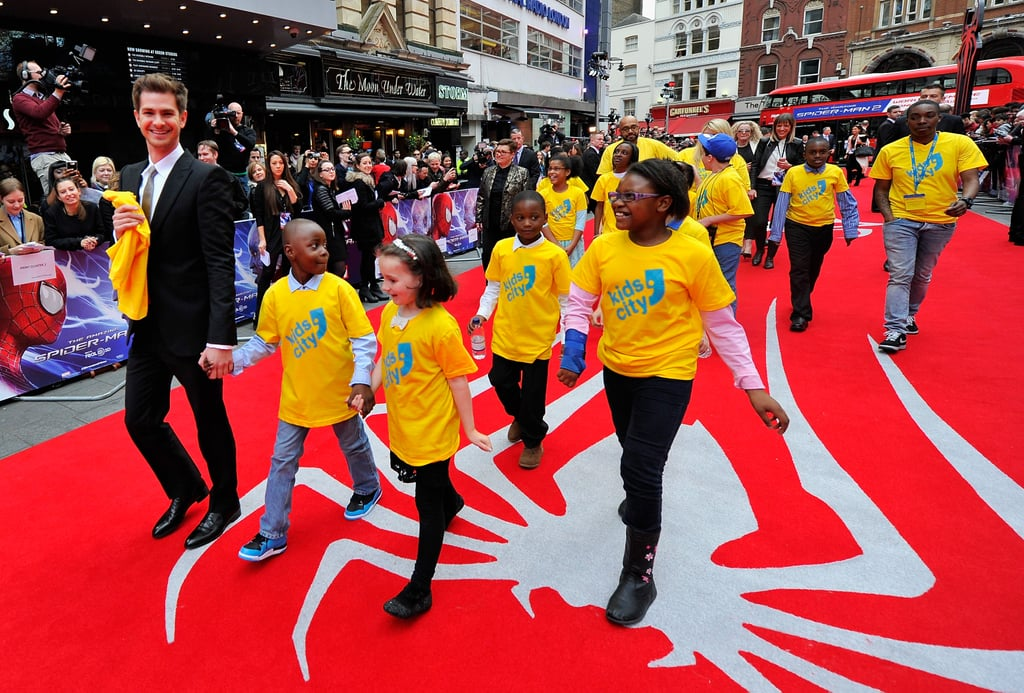 Andrew led the way for a group of London kids at the UK premiere of the Amazing Spider-Man 2 in April 2014.