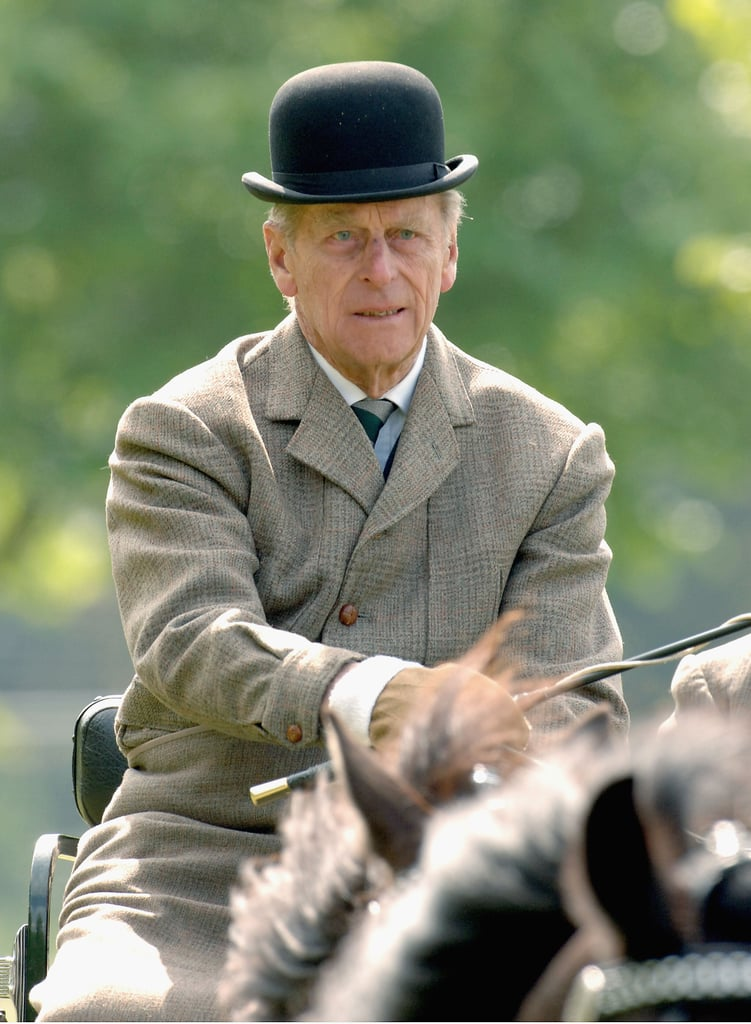 Prince Philip participated in the carriage driving event at the Royal Windsor Horse Show on May 13, 2005.