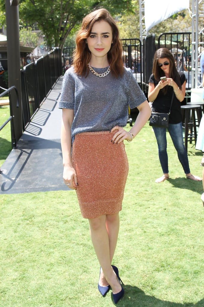 Lily Collins in Bec & Bridge and Christian Louboutin