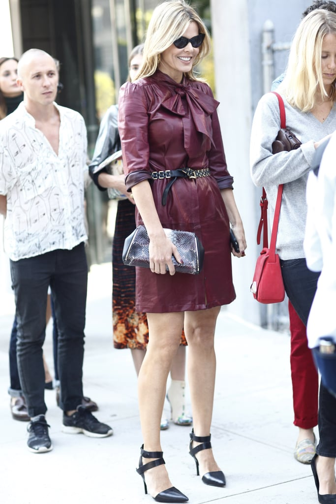 Mary Alice Stephenson tested Fall's red leather trend and finished with a pair of pointed Alexander Wang pumps. Source: Greg Kessler