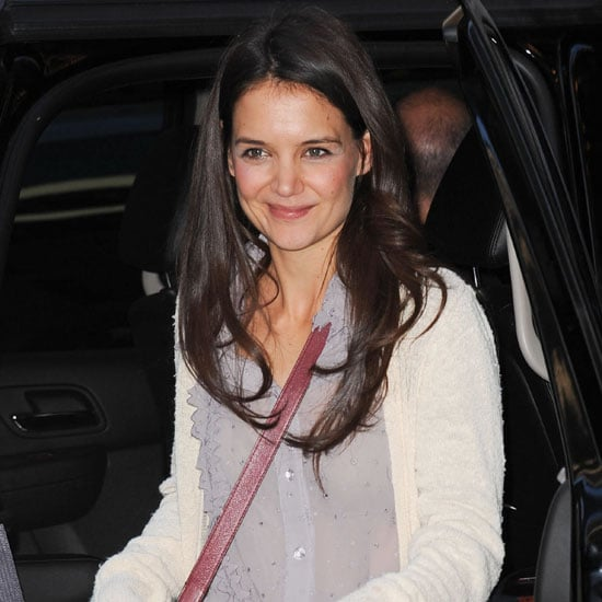 Katie Holmes Wearing Red Satin Pants
