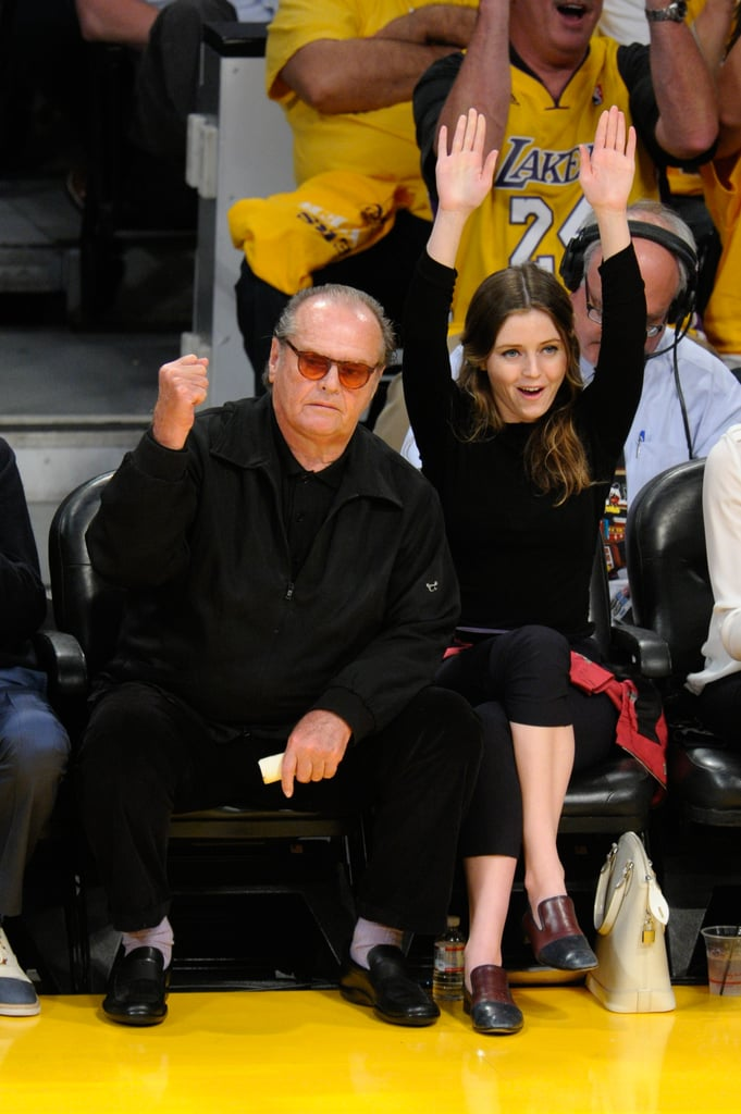 Famous LA Lakers fan Jack Nicholson was accompanied by his daughter, Lorraine, for the team's April 2013 playoff game against the San Antonio Spurs.