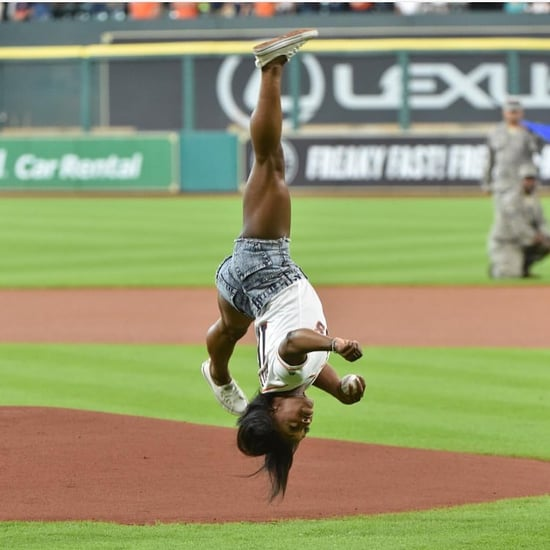 Simone Biles Throws Pitch at Houston Astros Baseball Game