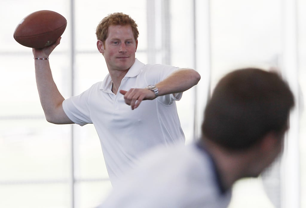 Prince Harry Gets the American Treatment With Football and Cheerleaders
