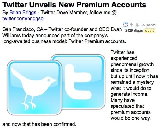 Twitter Premium Accounts Acually an April Fools' Day Joke