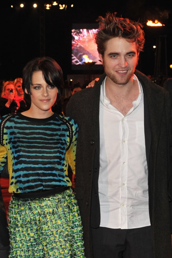 Kristen Stewart stayed close to Robert Pattinson in her Proenza Schouler outfit at a New Moon UK fan event in 2009.