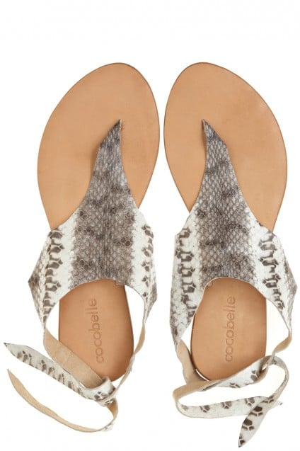 For her off-duty days, we love the simple silhouette and glamorous print of these Calypso snakeskin tie sandals ($165).