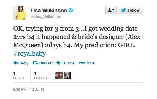 With a track record like Lisa's. . . Looks like Kate and William are having a girl!