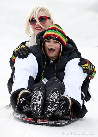Gwen Stefani had a laugh while sledding with her son Kingston Rossdale.