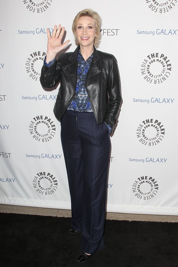 Jane Lynch waved to the cameras.