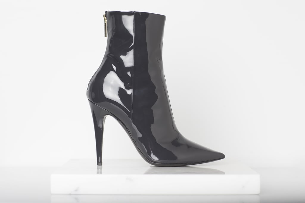 Excess Patent Ankle Boot in Gray ($895) Photo courtesy of Tamara Mellon