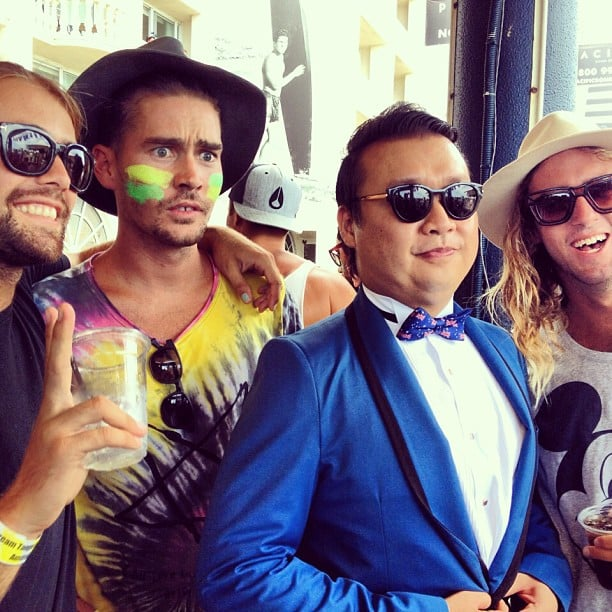 Nathan Jolliffe wore green and gold zinc and posed with a Psy impersonator. Source: Instagram user nathanjolliffe