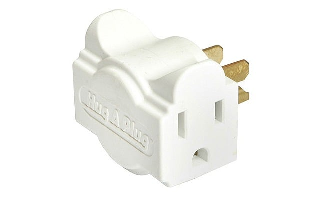 The great thing about the Hug-A-Plug dual outlet adapter  ($6) is that its compact design fits flat against the wall, and it gives you twice the sockets to plug your gadget into.